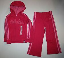 New Adidas Girl Pink 2 Pc Set Zip Up Hoodie Track Pants Size 2T NWT Sweatshirt
