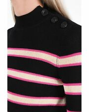 "NWT ISABEL MARANT ""Devona"" Stripe Sweater CURRENT SEASON SZ 40 Black Pink Cream"