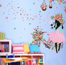 Flower Butterfly DIY shop window Hotel room Decor Art Wall Decal Home Mural gift