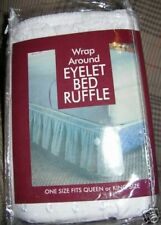 "WHITE EYELET DUST RUFFLE ELASTIC BEDSKIRT 18""DROP----QUEEN---COMES IN BEIGE ALSO"