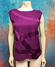 R.Q.T. ~  Woman's Size S Wine Color, Satin Design Sleeveless Top Blouse