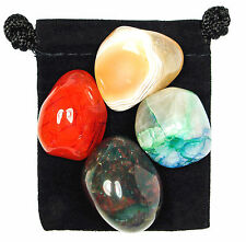 FINDING COURAGE Tumbled Crystal Healing Set = 4 Stones + Pouch +Description Card
