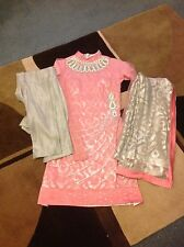 Women small Pink long sleeve indian outfit with trouser and scarf.