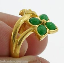LADIES 24K .999 YELLOW GOLD JADE JADEITE LEAF FLOWER RING SIZE 8 1/4 ESTATE FIND