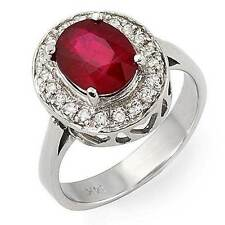 Estate ring 2.6 ct natural ruby and diamond 14k gold