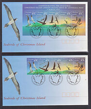 1993 CHRISTMAS ISL SEABIRDS STRIP AND SHEETLET FDCs