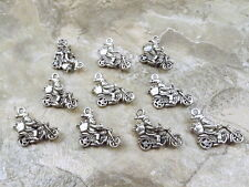 10 Pewter SANTA on MOTORCYCLE  Charms - 5260