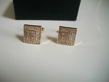Mens Gold Finish Clear Simulated Lab Diamond Square Cuff Links