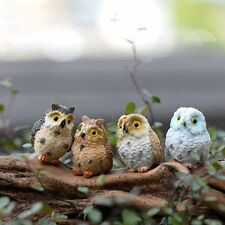 4XGarden Ornament Miniature Owl Resin Figurine Craft Pots Garden Decorative CNUS