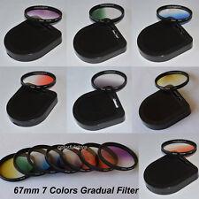 67 67mm 7 Graduated Gradual Red Purple Green Orange Yellow Blue Grey Lens Filter