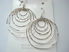 TAXCO MEXICO STERLING SILVER 925 DANGLING MULTI HOOPS EARRINGS VERY NICE