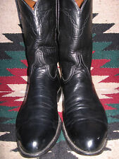 NICE MENS LUCCHESE HANDMADE BLACK SMOOTH GOATSKIN ROPER STYLE COWBOY BOOTS 9.5 D