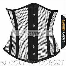 Steel Boned Underbust Heavy Lacing Shaper White Black Mesh Summer Corset Korset