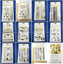12 sheets wholesale flash summer tribal gold silver metallic temporary tattoos