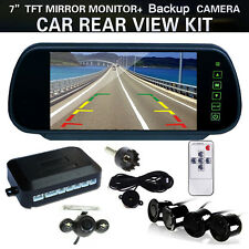 7'' LCD Car Rearview Mirror Monitor+4 Parking Sensors Radar System+Backup Camera