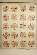 "Dresden Plate Quilt Top Hand Embroidered Edges On Muslin 20 Plates 66"" x 82"""