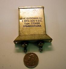 Gudeman 1uF 600v PIO CP68B1EF105K w/ mounting flange 1957 date USED  (Lot of 1)