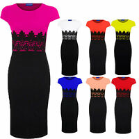 Women's Celeb Lace Contrast Cap Sleeve Evening Pencil Ladies Midi Bodycon Dress