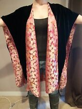 Vintage Black Velvet & Silk Embroidered Chinese Colorful Cape Jacket Duster O/S