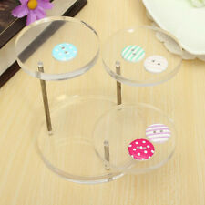 3 Layer Clear Round Jewelry Display Stand Earring Necklace Ring Organizer Shelf