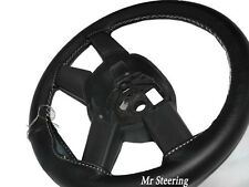 FITS 2006-2012 DODGE CALIBER BLACK LEATHER STEERING WHEEL COVER WHITE STITCH NEW