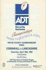 Cornwall v Lancashire 1992 County Championship Final RUGBY PROGRAMME