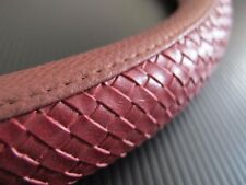 38cm Red Leather Weave Style Side Pattern Vehicle Car Steering Wheel Cover