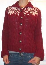 EUC Women's Medium Abercrombie & Fitch Red White Knit Button Up Sweater