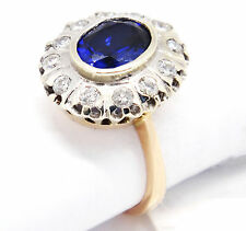 Vintage 18k Two-Tone Gold 3.01tcw Oval Sapphire W/ Diamonds Ring 5.5