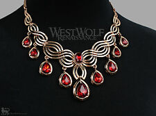Gold & Ruby Jewelry Collection/Set/Lot - Necklace/Ring/Earrings/Bracelet Vampire
