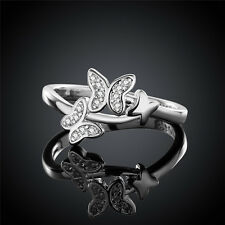 New Women 925 Silver Plated Butterfly Band Ring Gift Jewelry US Size 8