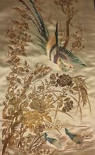 Antique Chinese Panel silk embroidered  ART Embroidery QING DYNASTY SIGNED !