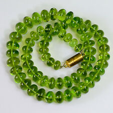 356.95CT Gem Grade Glowing Arizona Peridot Plain Smooth Rondelle Beads 17 inch
