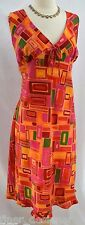 MILLENIUM WOMEN'S MULTI-COLOR GEO SLEEVELESS DRESS Sundress V neck light 20 NEW