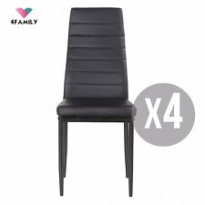 Set of 4 Stunning Dining Chairs Comfortable Leather Dining Room Furniture Black
