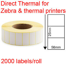 Direct thermal labels rolls 56x25mm 2000/roll for Zebra & thermal printer