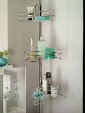 Deluxe Large 3 Tier Adjustable Telescopic Corner Bathroom Shelves Shower Storage