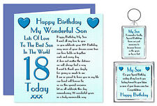 18th Son Happy Birthday Gift Set - Card, Keyring & Magnet 18 Today Lots Of Love