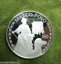 #NN.  1988  COOK ISLAND $50 SILVER PROOF COIN -  MARCO POLO