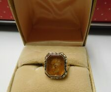 Vintage Intaglio ring yellow stone and seed pearls Set in  14 kt
