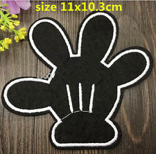 "4"" Disney Mickey mouse Black hand/glove Embroidered Iron On / Sew On Patch"