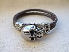 Skull Bracelet, Stainless Steel and Brown Leather, Biker, Hells Angels, Goth