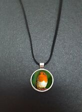 "Robin Bird Pendant On a 18"" Black Cord Necklace Ideal Birthday Gift N440"