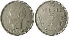 BELGIQUE  , LEOPOLD  III   ,  5  FR  BELGIE  1936