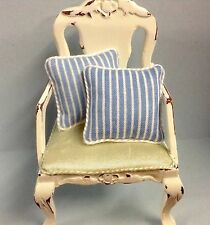 Set Of 2 Piped Blue/white Stripe Cushions for dolls house 12th Scale