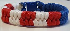 American Flag Patriotic Red, White & Blue Fish Tail Braided Paracord Bracelet