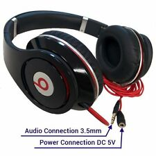 Beats by Dre Studio Wired Over Ear Headphones Black Noise Isolation w/ USB Power