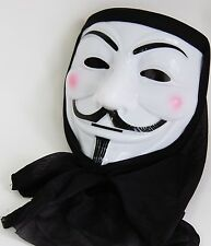 V de Vendetta máscara de PVC con Capucha Negro Fancy Dress Costume hoguera de fiesta