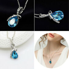 Blue Chain Crystal Rhinestone Necklace Pendant Charm Women Vintage Accessory CA