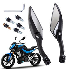 UNIVERSAL MOTORCYCLE SIDE MIRRORS BIKE MOTORBIKE REAR VIEW 10MM 8MM CARBON NEW